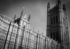 Palace of Westminster, London. Palace of Westminster (house of parliament) showing Victoria Tower in black and white Stock Photography