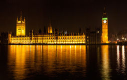 Houses of Parliament at Night Stock Photography