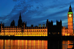 Palace of Westminster, London at night Royalty Free Stock Images