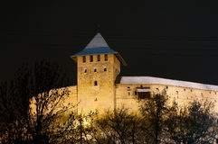 Palace of Westminster in Lutsk. Gothic, medieval castle in Lutsk Westminster. Night Photos Vladich tower Stock Photos