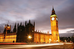Palace of Westminster at Night Stock Images