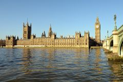 Palace of Westminster, over the Thames Royalty Free Stock Image