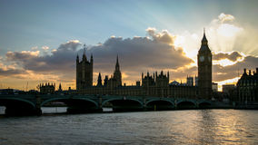 Palace of Westminster silhouette, London. Stock Photography
