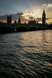 Palace of Westminster silhouette, London. Royalty Free Stock Photo