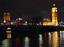The Palace of Westminster and Westminster bridge night. The Palace of Westminster, Big Ben Tower and Westminster bridge over Thames, night view London Stock Photos