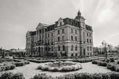 Amber Palace in Wloclawek. New palace in Wloclawek at black and white scenery Stock Images