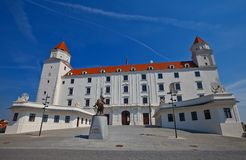 Palace (XVIII c. ) of Bratislava Castle. Front view of the Palace (circa XVIII c. ) of Bratislava Castle (founded in IX c. ). Bratislava, Slovakia Royalty Free Stock Image