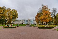 A palace in yellow forest royalty free stock images