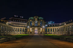 Palace Zwinger in Dresden,Saxony,Germany. The Zwinger is a palace in Rococo style in Dresden at night, Saxony,Germany Stock Image