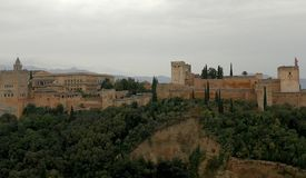 Palaces of the Alhambra in Granada royalty free stock images