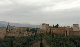 Palaces of the Alhambra in Granada, from La Mezquita, the Carmenes, the viewpoint of San Nicolas stock photos