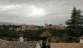 Palaces of the Alhambra in Granada,. From the Cármenes, the viewpoint of San Nicolás Royalty Free Stock Photo