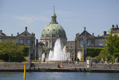 Palaces of Amalienborg and Frederiks Kirke Stock Photo
