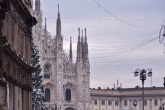 Palaces and Facade of the Milan Cathedral. During the Christmas holidays Royalty Free Stock Images
