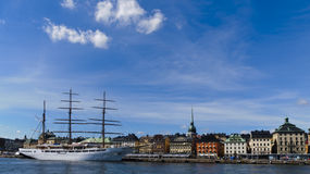 Palaces of Stockholm old town facing the water stock photo