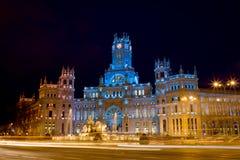 plaza de Cibeles在晚上在马德里 免版税库存图片