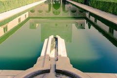 Palacio的Nazaries庭院在阿尔罕布拉宫在格拉纳达, Sp 库存图片