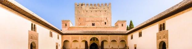 Palacio的Nazaries庭院在阿尔罕布拉宫在格拉纳达, Sp 免版税库存图片