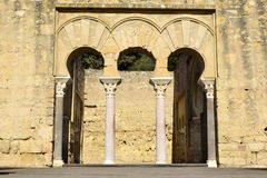 Palacio califal. Caliphal palace at the site of Medina Azahara in Cordoba, Spain, the midday light bounces off the walls still required to manually adjust my Royalty Free Stock Photo