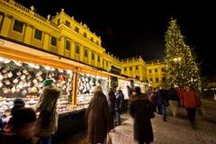 Palacio Christkindlmarkt de Schönbrunn Fotos de archivo libres de regalías