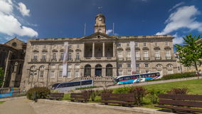The Palacio da Bolsa timelapse hyperlapse Stock Exchange Palace is a historical building in Porto, Portugal stock footage