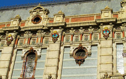 Palacio de Aguas Corrientes in Buenos Aires. Sun symbol on Palacio de Aguas Corrientes in Buenos Aires, The Water Company Palace. The Palace of Flowing Waters an royalty free stock images