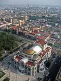 Palacio de Bellas Artes Mexico City. A birds eye view of the Alameda and the Palacio de Bellas Artes theatre with its dome in Mexico City Stock Photos