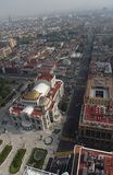 Palacio de Bellas Artes Mexico City. A birds eye view of Lazaro Cardenas Avenue and the Palacio de Bellas Artes theatre in Mexico City Stock Photography