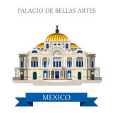 Palacio De Bellas Artes Mexico vector flat attraction landmarks. Palacio De Bellas Artes in Mexico. Flat cartoon style historic sight showplace attraction web Royalty Free Stock Photography