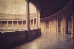 Palacio de Carlos V i La Alhambra granada spain royaltyfria bilder