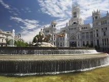 Palacio de Cibelas με το άγαλμα και την πηγή Μαδρίτη Ισπανία Στοκ Φωτογραφίες