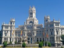 Palacio de Cibeles/Δημαρχείο, Μαδρίτη Στοκ Εικόνες