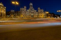 Palacio de Cibeles bis zum Nacht Stockfotografie