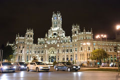 Palacio de Cibeles at night Royalty Free Stock Photos
