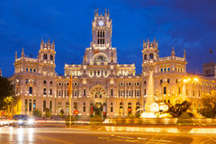 Palacio de Cibeles in summer evening. Madrid Royalty Free Stock Photo