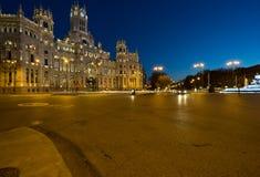 Palacio de Cibeles vid natt royaltyfri fotografi