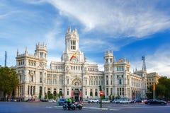 Palacio de Comunicaciones bei Plaza de Cibeles in Madrid, Spanien Lizenzfreies Stockbild