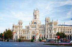 Palacio de Comunicaciones bei Plaza de Cibeles in Madrid, Spanien Lizenzfreie Stockfotografie