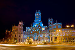 Plaza de Cibeles at Night in Madrid Royalty Free Stock Image