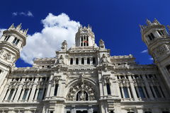 Palacio de comunicaciones, he old buildings in Madrid, Spain Stock Image