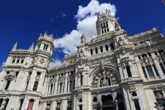 Palacio de comunicaciones, he old buildings in Madrid, Spain Stock Photos