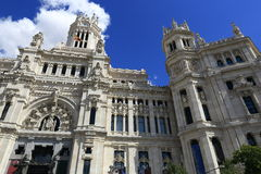 Palacio de comunicaciones, he old buildings in Madrid, Spain Royalty Free Stock Photography