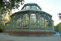 Palacio DE Cristal Crystal Palace in het Park van Buen Retiro (Gr Retiro), Madrid, Spanje Royalty-vrije Stock Afbeelding