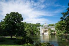 Palacio de cristal krystaliczny pałac w Buen Retiro parku - Madryt Obrazy Stock
