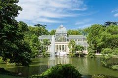 Palacio de cristal krystaliczny pałac w Buen Retiro parku - Madryt Obraz Royalty Free