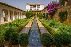 Palacio de Generalife. Whilst fountains and flowing water are a common feature around the Alhambra, they are particularly prevalent in the Palacio de Generalife Royalty Free Stock Photo