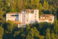 Palacio de Generalife, Alhambra, Granada. Palacio de Generalife, summer palace and country estate of the Nasrid rulers, during sunset, Alhambra, Granada stock photography
