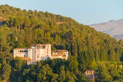 Palacio de Generalife, Alhambra, Granada. Palacio de Generalife, summer palace and country estate of the Nasrid rulers, during sunset, Alhambra, Granada stock images