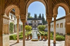 Palacio DE Generalife, Granada, Spanje Royalty-vrije Stock Fotografie