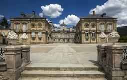 Palacio de la Granja de San Ildefonso in Segovia, Spain. beautiful villa with gardens and classical sources. stock image
